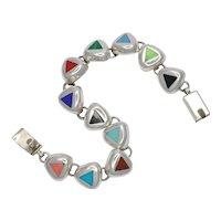 Vintage Mexican Multi Stone Silver Bracelet