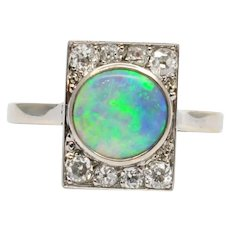 Art Deco French Opal and Diamond Ring