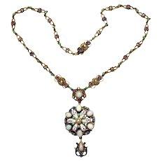 Austro Hungarian Opal Enamel Silver Gilt Necklace