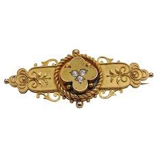 Victorian Etruscan Revival 15k Gold Diamond Brooch