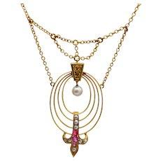 Art Nouveau Ruby Pearl Gold Necklace