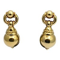 18 Karat Gold Ball Drop Earrings