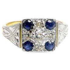 Art Deco Sapphire Diamond Platinum Gold Ring