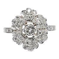 Vintage Diamond 18 Carat Gold Flower Ring