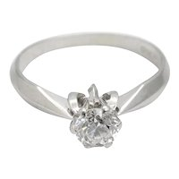 Vintage Diamond Solitaire 18k Gold Engagement Ring
