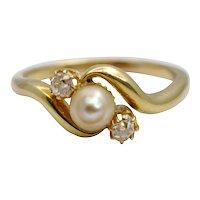 Victorian Diamond Pearl 3 Stone Crossover Ring