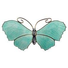 Antique Silver Enamel J Aitken & Son Butterfly Brooch