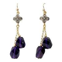 Amethyst Diamond Gold Pendant Earrings