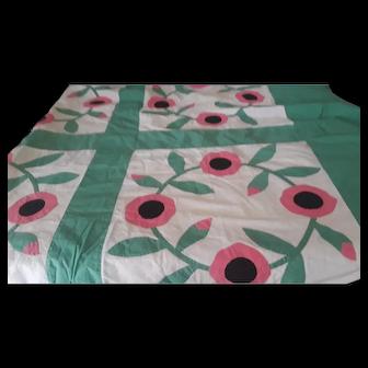 Wonderful 1940s Applique Poppy Quilt Top