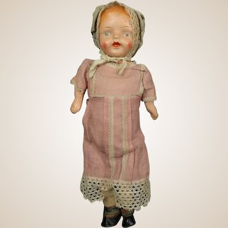 """Large 25"""" Early Composition Carnival Doll w/ Original Costume"""