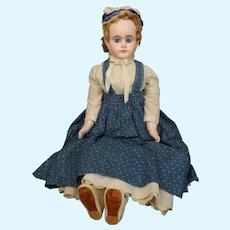 """Large 30"""" Antique German Papier Mache Doll with Stunning Blue Eyes!!"""