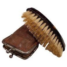Antique Ladies Leather Purse with Brush & Mirror
