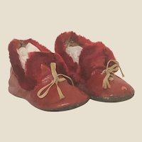 Pair of Antique Children's Mohair Trimmed RED Shoes - GREAT for Dolls !!!