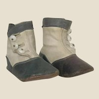 GREAT Pair of Antique Children's Two-Tone  Button-Up Boots