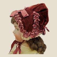 Wonderful Vintage Doll Bonnet for French or German Bisque Doll