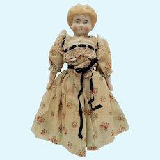 "9"" Antique German Bisque Doll w/ WONDERFUL Clothes!"