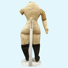 WONDERFUL & LARGE Antique Cloth Doll Body for China Head, Wax or Papier Mache