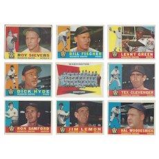 9 Topps 1960 Washington Senators Baseball Cards, Team Photo & Eight Others