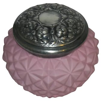 Antique Pink Satin Glass Quilted Victorian Biscuit Jar & Floral Silverplate Lid
