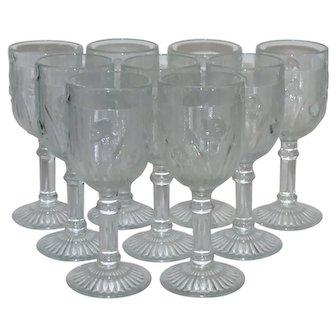 "Nine Jeanette Iris & Herringbone 5 3/8"" Wine Glass, Circa 1928-1932- EUC"