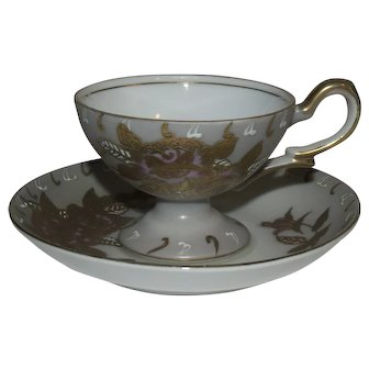Vintage Ucagco China Occupied Japan Footed Demitasse Gold Floral Cup & Saucer