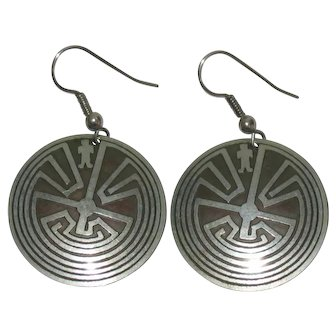 Native American Silver/Bronze 'Man In The Maze' Concho Dangle Hook Earrings