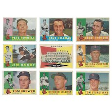 9 Topps 1960 Boston Red Sox Baseball Cards, Team Photo & Eight Others