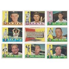 9 Topps 1960 Kansas City Athletics Baseball Cards, Team Photo & Eight Others