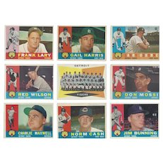 9 Topps 1960 Detroit Tigers Baseball Cards, Team Photo & Eight Others