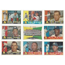 9 Topps 1960 St. Louis Cardinals Baseball Cards, Team Photo & Eight Others