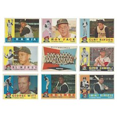9 Topps 1960 Pittsburgh Pirates Baseball Cards, Team Photo & Eight Others