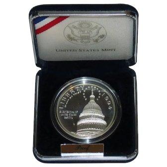 1994 S US Capitol Bicentennial Silver Dollar Proof US Mint Coin, Box & COA