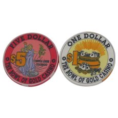Two Obsolete Cripple Creek, Colorado Bowl of Gold Casino Chips