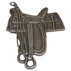 Vintage 1920 Wallace, NE Frontier Day Figural Silver Saddle Souvenir Pin