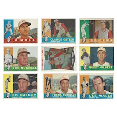 9 Topps 1960 Cincinnati Reds Baseball Cards, Sophmore Stalwarts & 8 Others