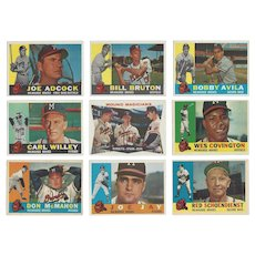 9 Topps 1960 Milwaukee Braves Baseball Cards, Mound Magicians & 8 Others