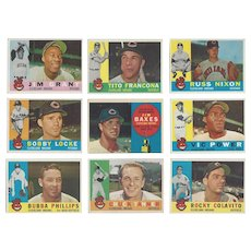 9 Topps 1960 Cleveland Indians Baseball Cards, All-Star Rookie Jim Baxes
