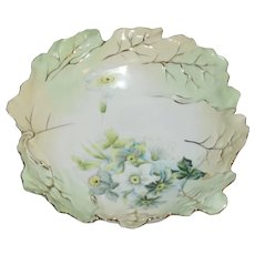 """Large Antique RS Prussia Porcelain Leaf Mold 10"""" Bowl, Hand Painted Flowers"""