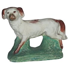 Antique Victorian Staffordshire Miniature Dog on Green Base Figurine