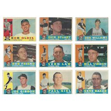 9 Topps 1960 Pittsburgh Pirates Baseball Cards Featuring Five Pitchers