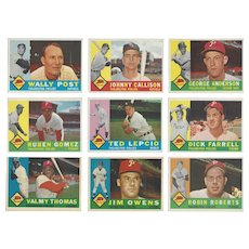 9 Topps 1960 Philadelphia Phillies Baseball Cards Featuring Four Pitchers