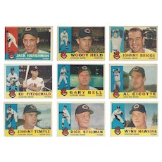 9 Topps 1960 Cleveland Indians Baseball Cards Featuring Six Pitchers