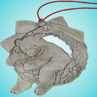 Tiffany & co. Makers Sterling Silver Bear on Holly Ornament