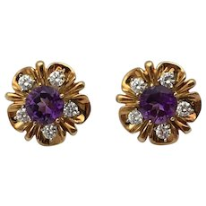Vintage Tiffany & co. 18K yellow gold 1ct diamond 4ct amethyst earrings