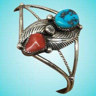 Vintage sterling silver bracelet coral turquoise