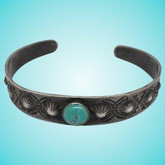 Vintage sterling silver cuff bracelet turquoise