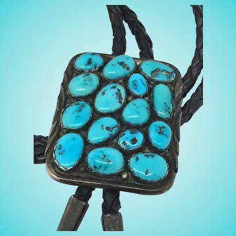 Southwestern turquoise sterling silver BOLO TIE