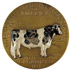 Scarce Holstein-Friesian Bronze Medal, Gozo Kawamura 1924 Enameled Award Merit
