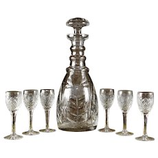 "Elegant American Cut ""Vega"" pattern decanter set"