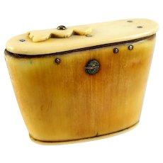 Antique 19th C Horn & Bone Snuff Box